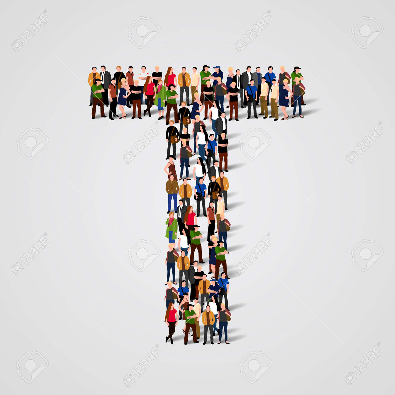 Large group of people in letter T form. Vector seamless background Standard-Bild - 46955164
