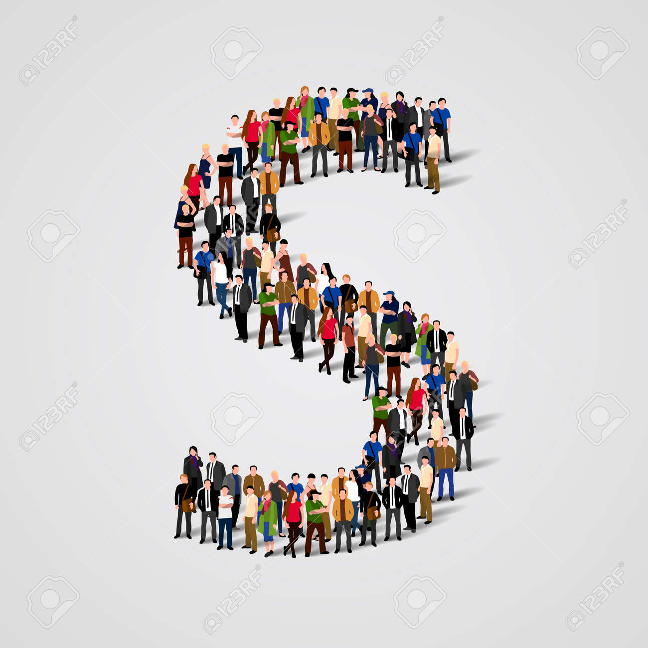 Large group of people in letter S form. Vector seamless background Standard-Bild - 46955166