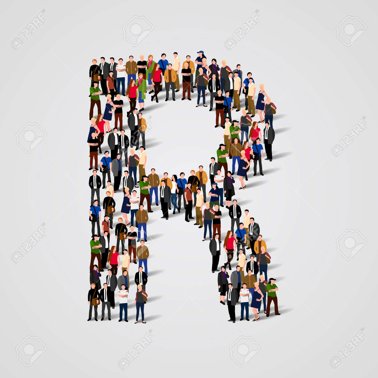 Large group of people in letter R form. Vector seamless background Standard-Bild - 46955169
