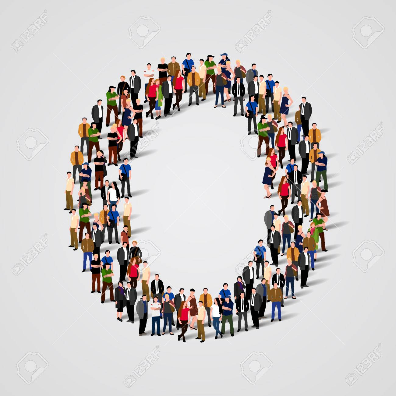 Large group of people in letter O form. Vector seamless background Standard-Bild - 46955167
