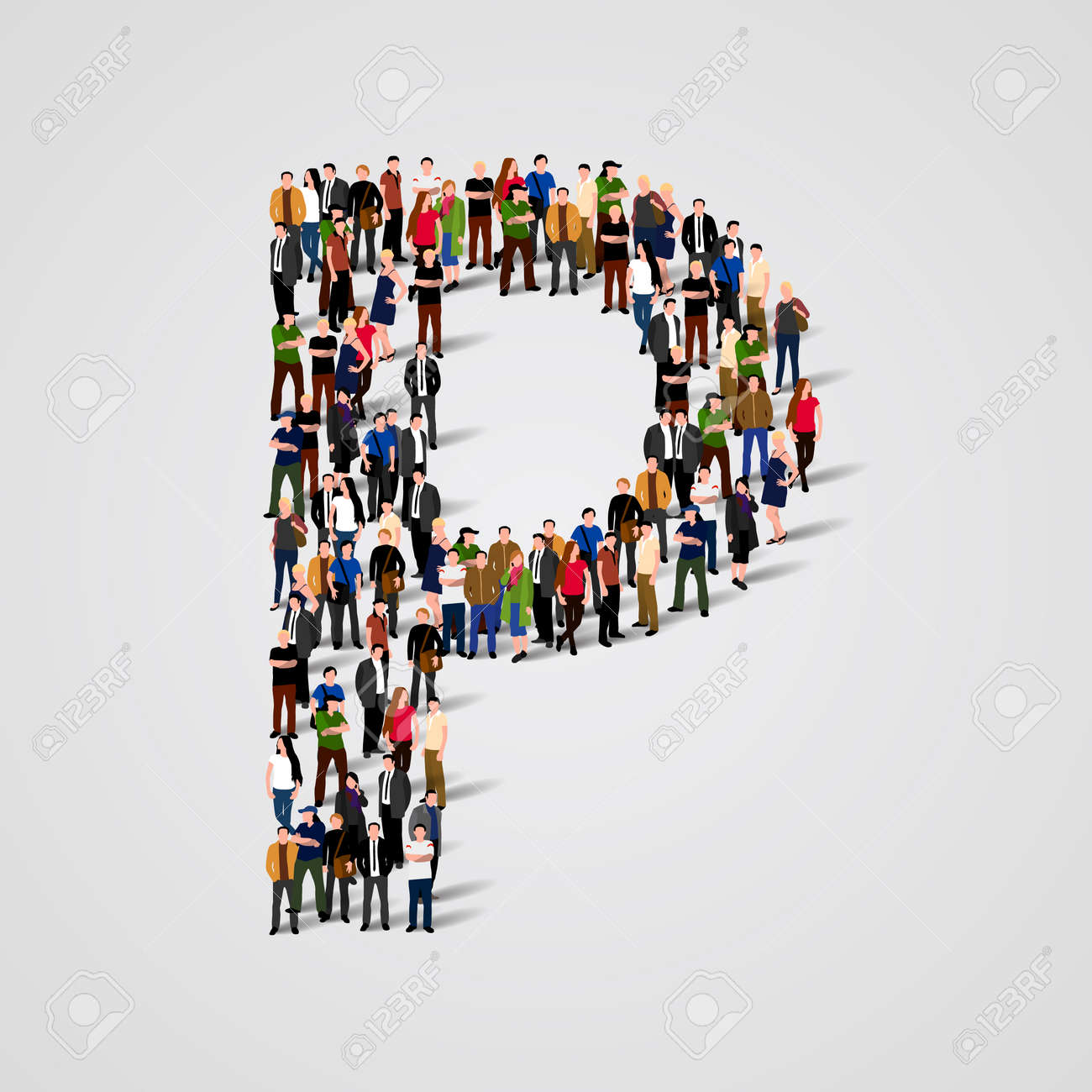 Large group of people in letter P form. Vector seamless background Standard-Bild - 46955172