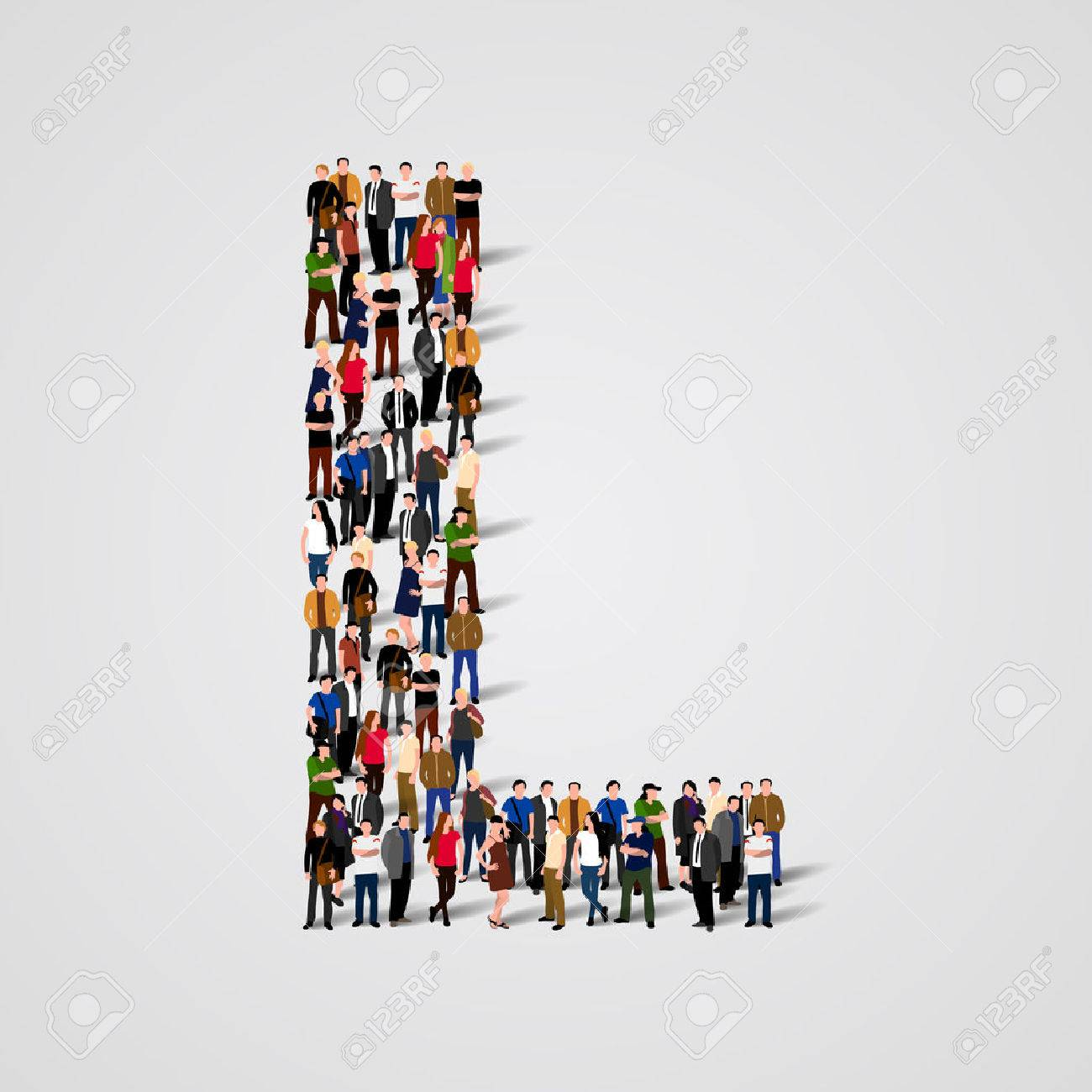 Large group of people in letter L form. Vector seamless background Standard-Bild - 46955174