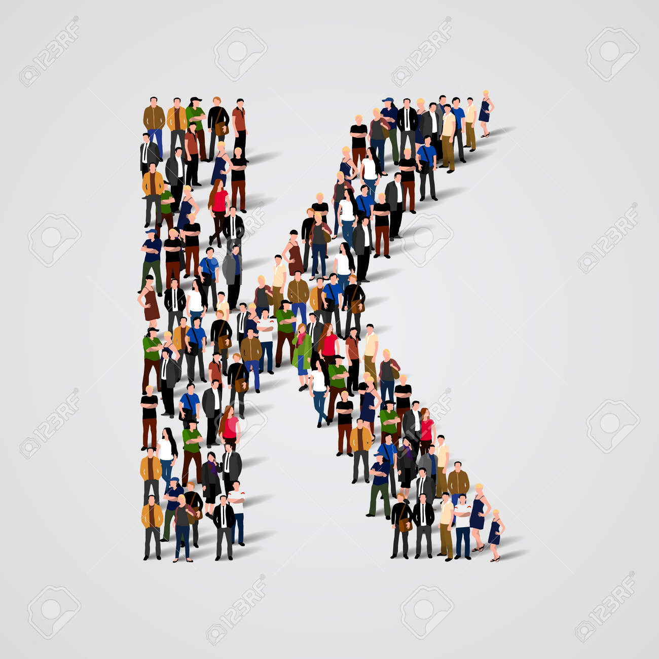 Large group of people in letter K form. Vector seamless background Standard-Bild - 46955176