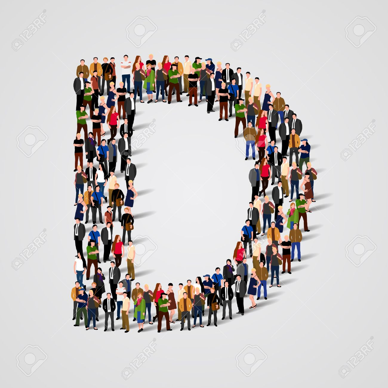 Large group of people in letter D form. Vector seamless background Standard-Bild - 46955210