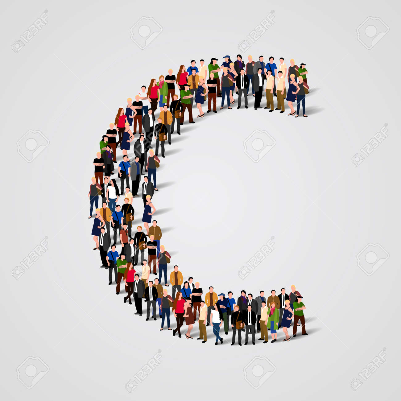 Large group of people in letter C form. Vector seamless background Standard-Bild - 46955212