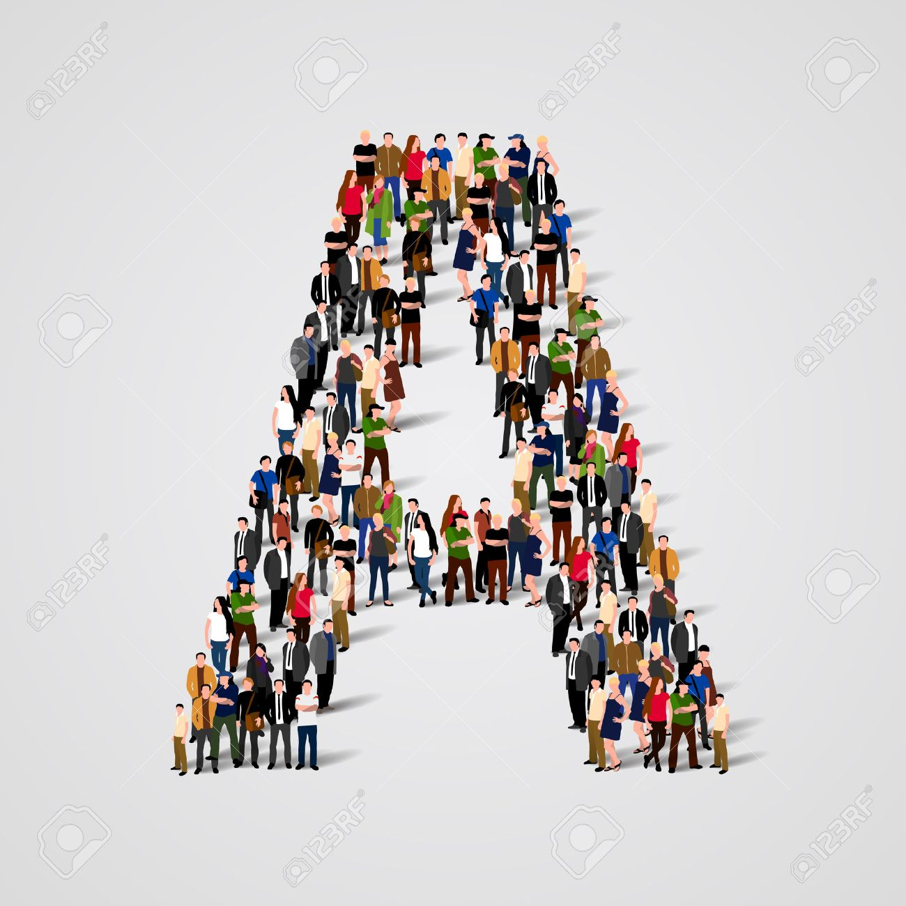 Large group of people in letter A form. Vector seamless background Standard-Bild - 46955216