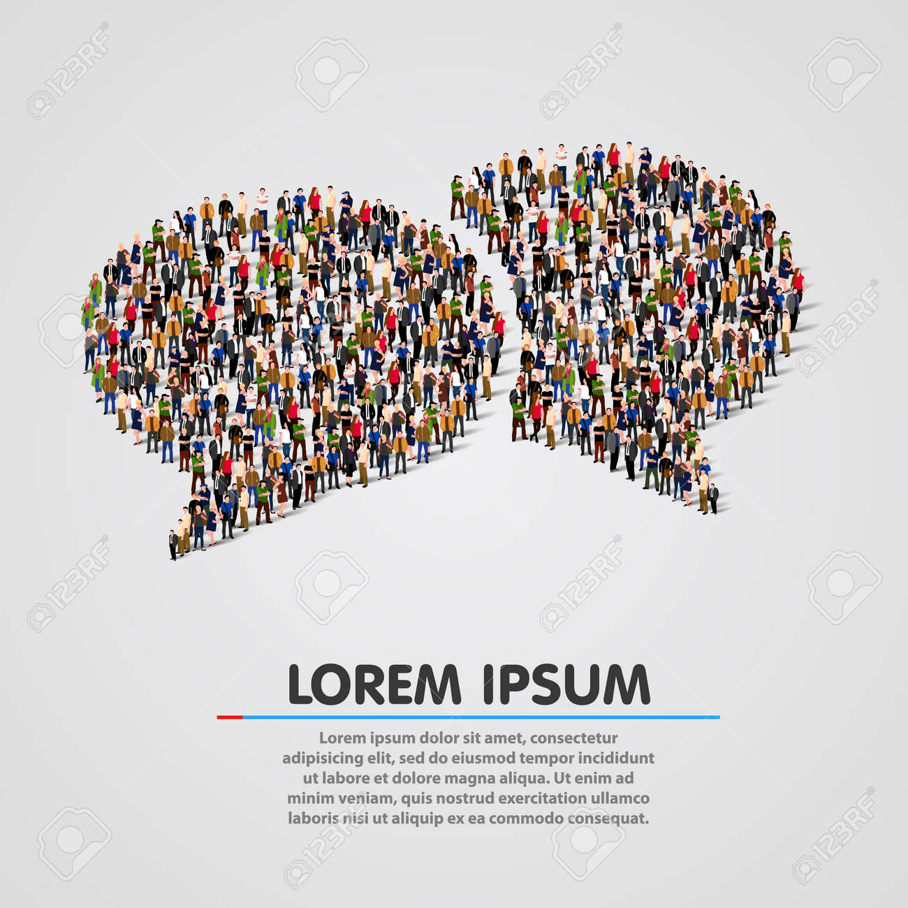 Large group of people in the chat bubbles shape. Vector illustration Standard-Bild - 46955215