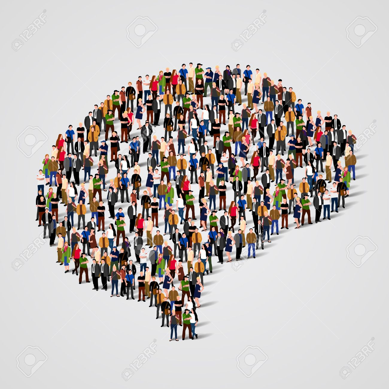 Large group of people in the shape of brain sign. Vector illustration Standard-Bild - 46955214