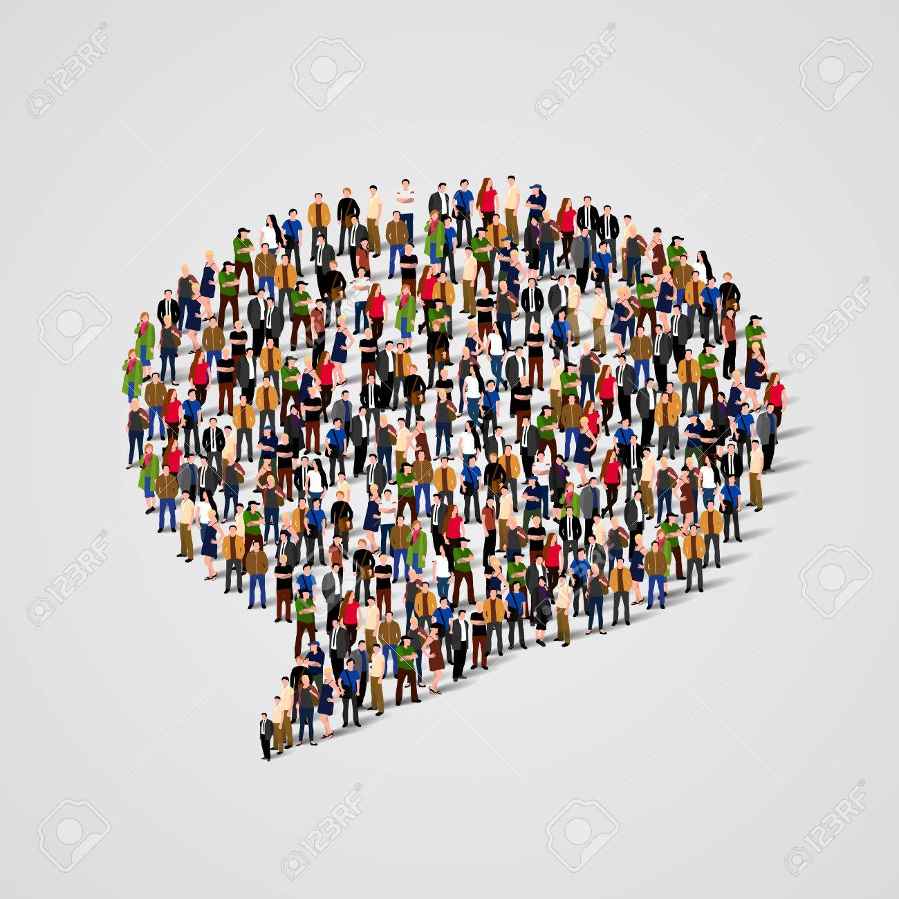 Large group of people in the chat bubble shape. Vector illustration Standard-Bild - 46955220