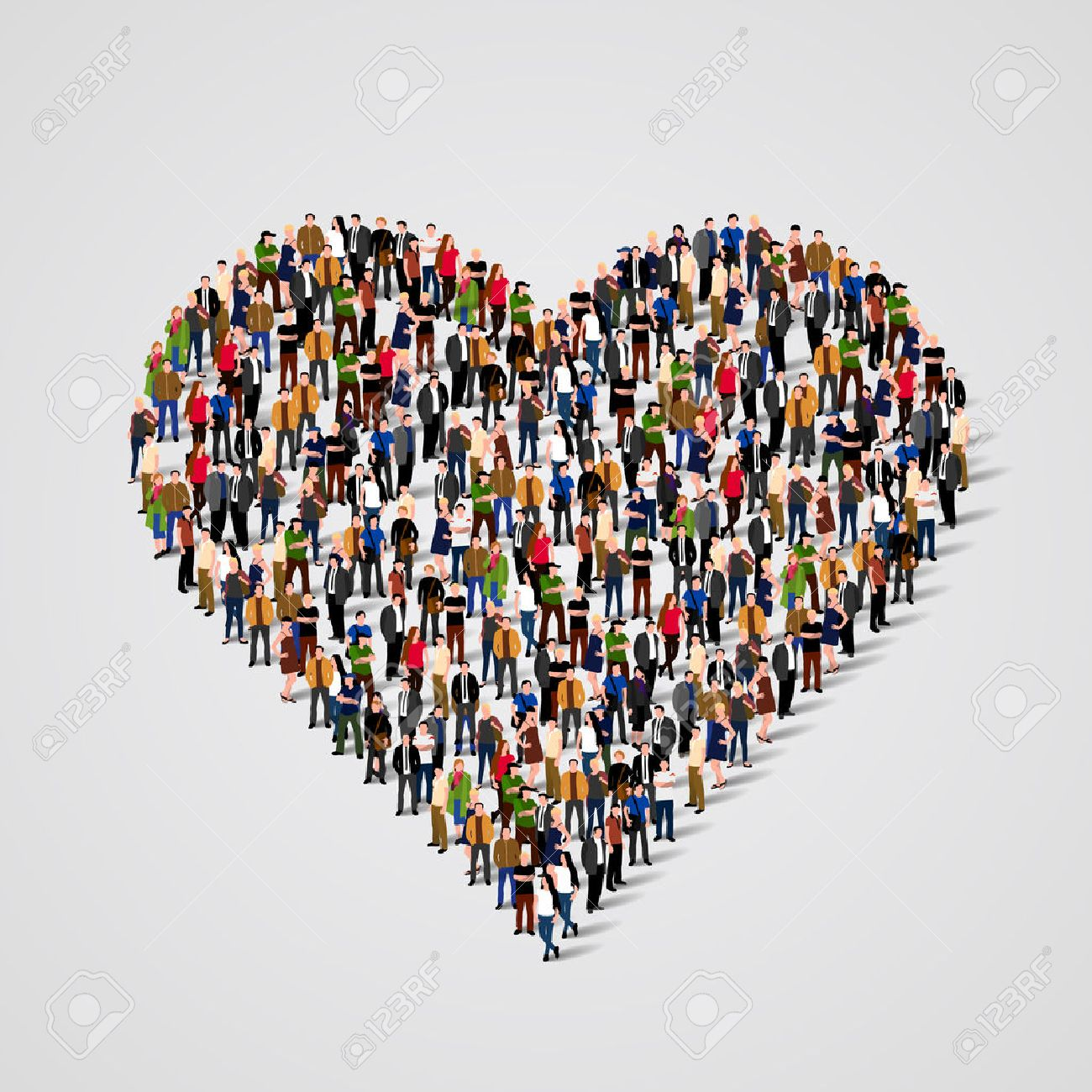 Large group of people in the heart sign  shape. Vector illustration Standard-Bild - 46955223