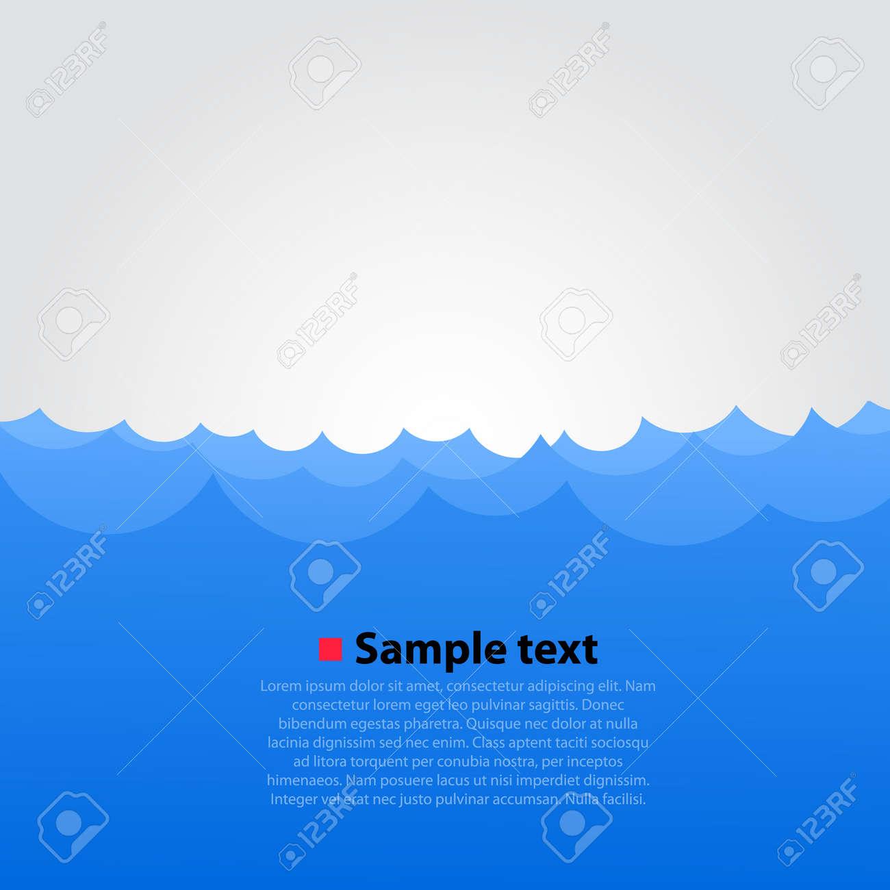 Sea and waves bright background. Vector illustration Standard-Bild - 46955318