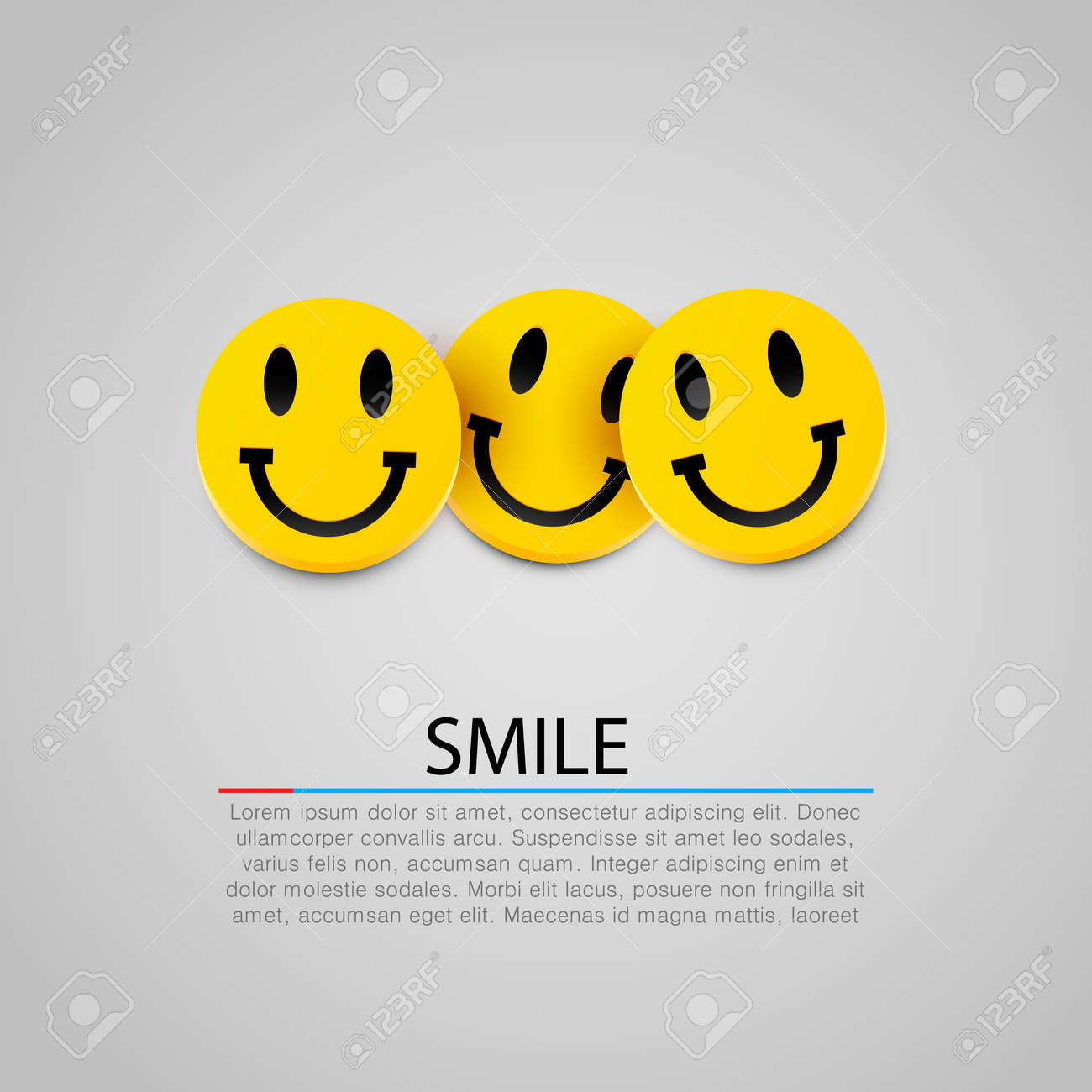 Modern yellow laughing three smiles. Vector illustration Standard-Bild - 46955351