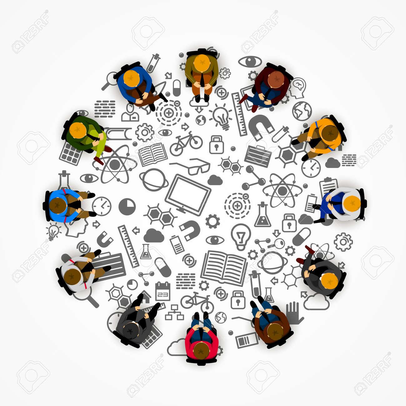 People sitting in a circle. Vector illustration Standard-Bild - 47037247