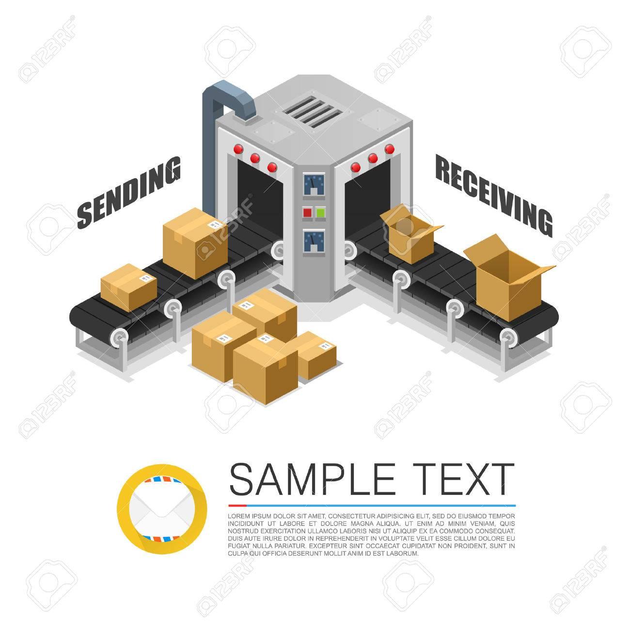 Conveyor packing parcels sign art. Vector illustration Standard-Bild - 47553444
