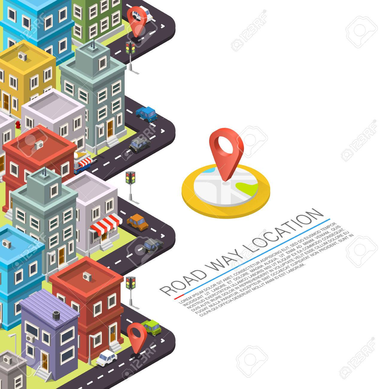 Road in the city Isometric. Vector background Stock Vector - 47553445