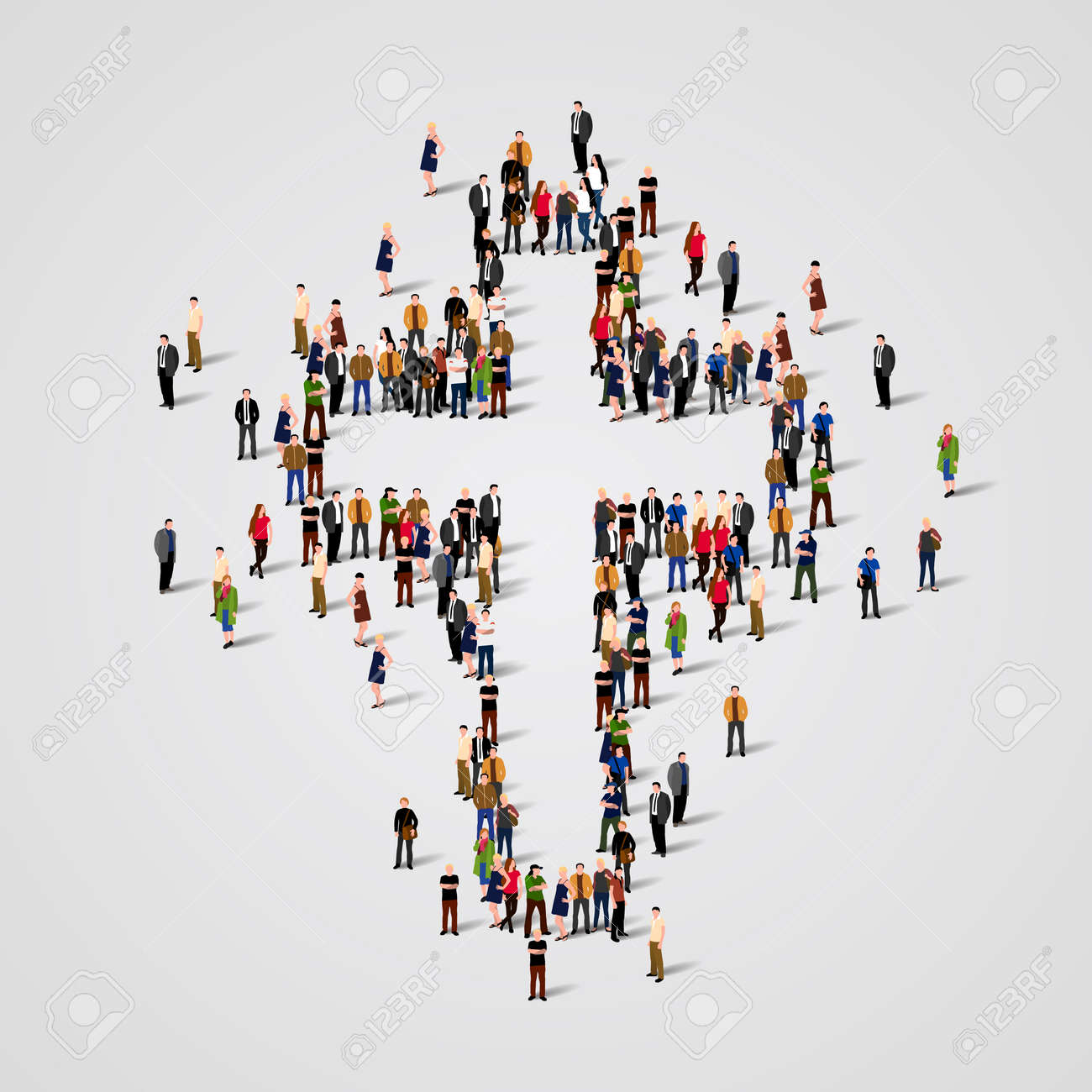 Large group of people in the shape of cross. Vector illustration Standard-Bild - 57806818