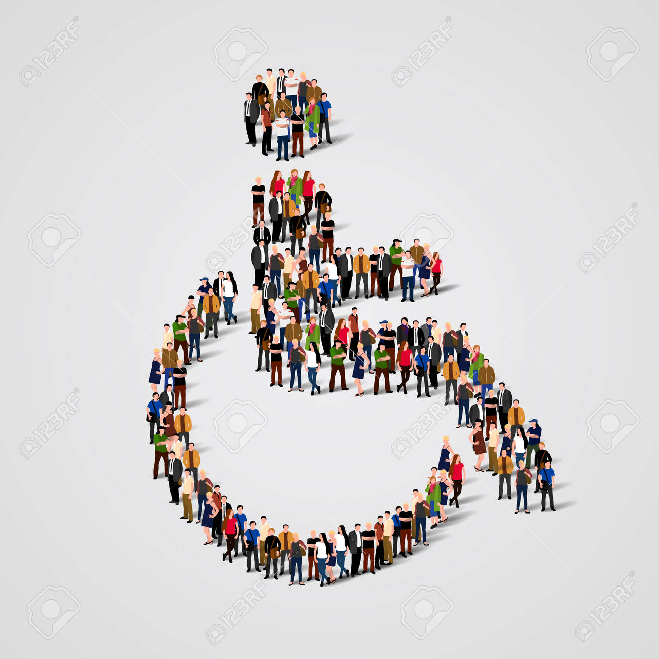 Large group of people in the shape of wheelchair. Vector illustration Standard-Bild - 57806830
