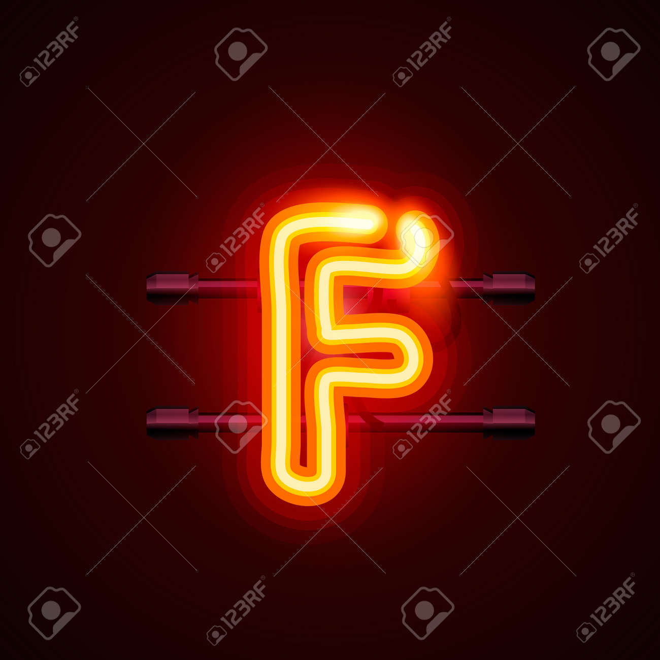 Neon font letter f, art design  Vector illustration