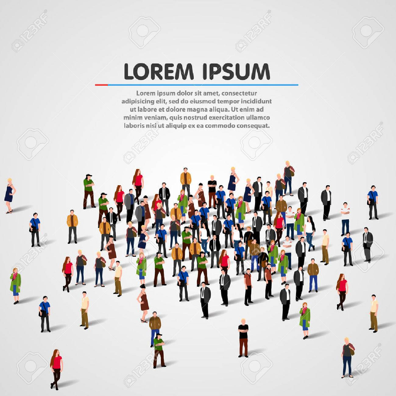 Big people crowd on white background. Vector illustration. - 58177616