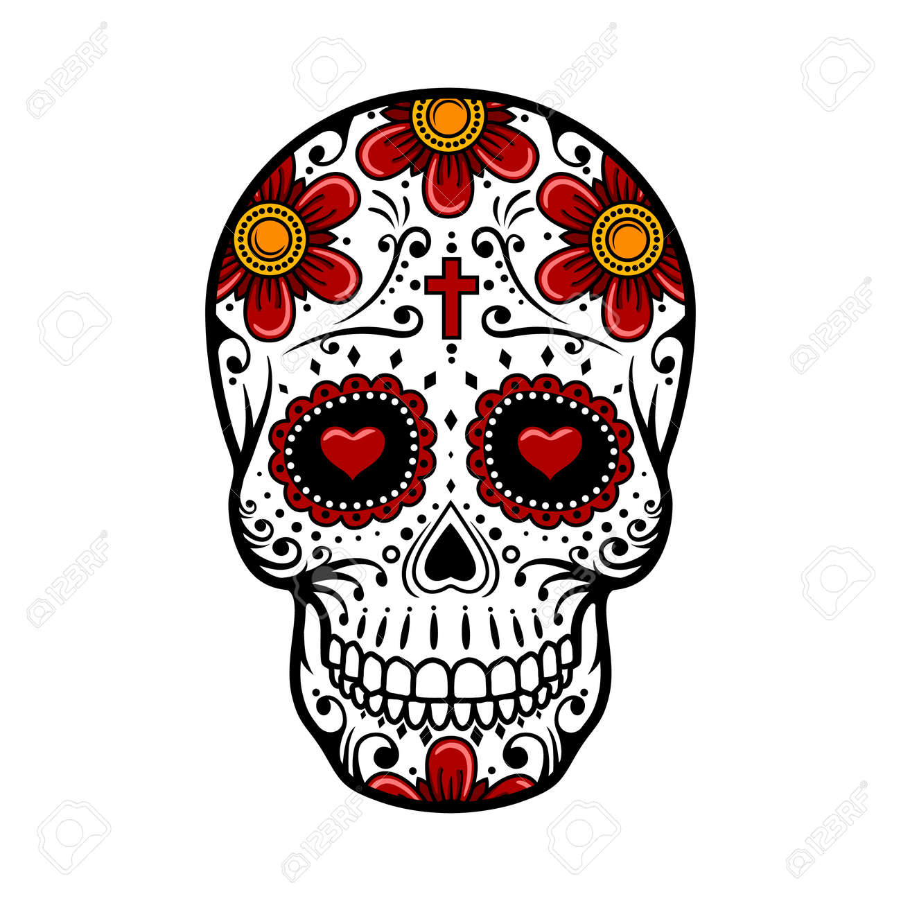day of the dead skull skull sugar flower skull tattoo vector rh 123rf com day of the dead vector art day of the dead girl vector
