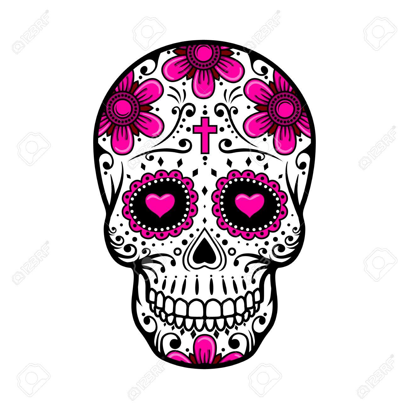 Tag Des Toten Schädel. Schädel Zucker Blume. Schädel Tattoo. Vektor ...