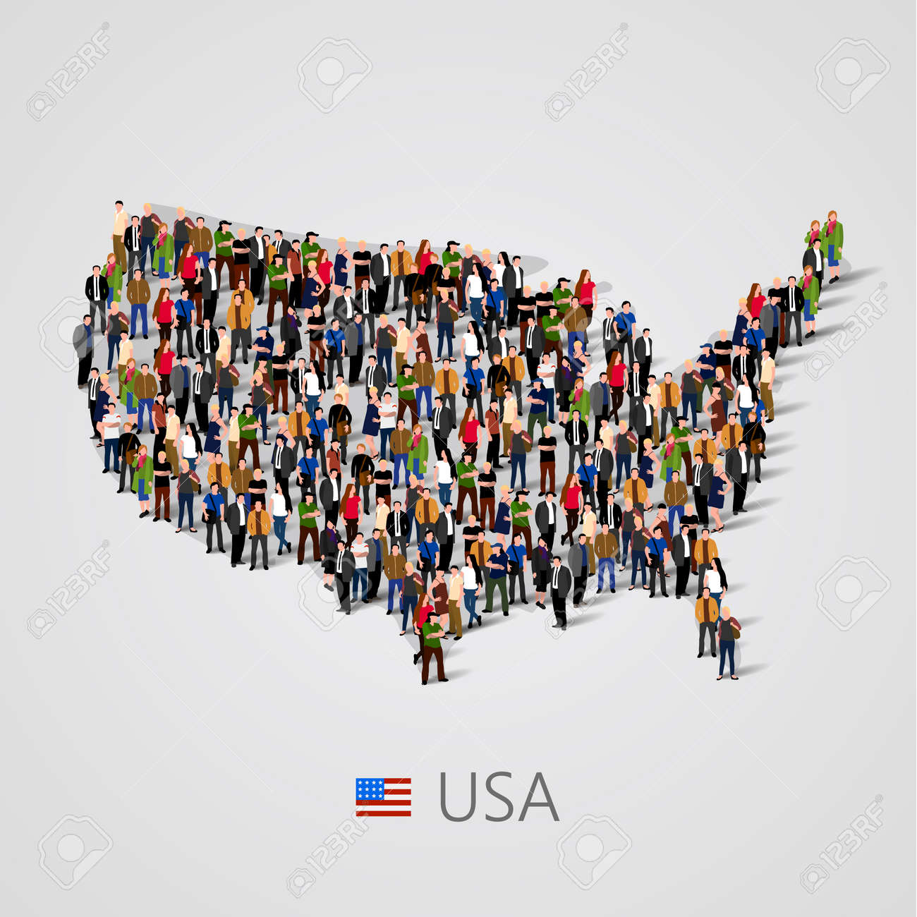 Large Group Of People In United States Of America Or USA Map - Us map with people