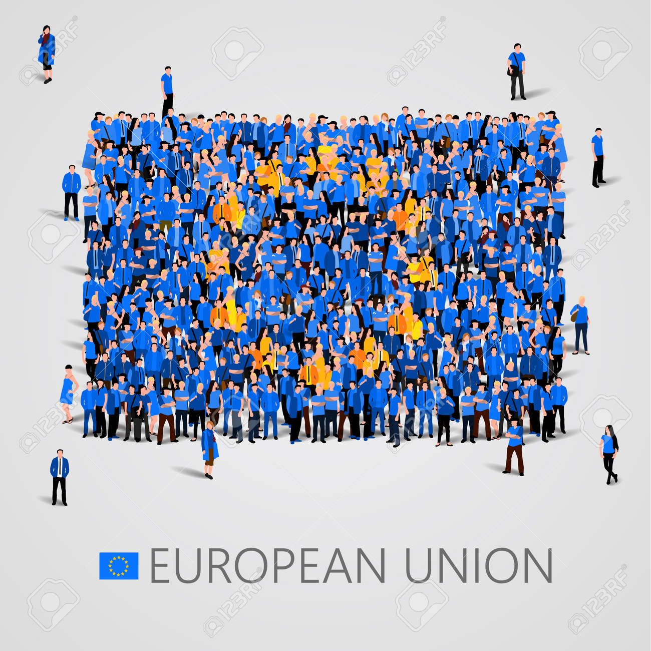 Large group of people in the shape of European union flag. Europe. - 74619303