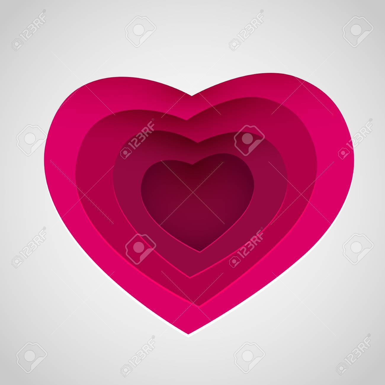 Love Heart Form Paper Cut Style. Valentines Day Card Vector ...