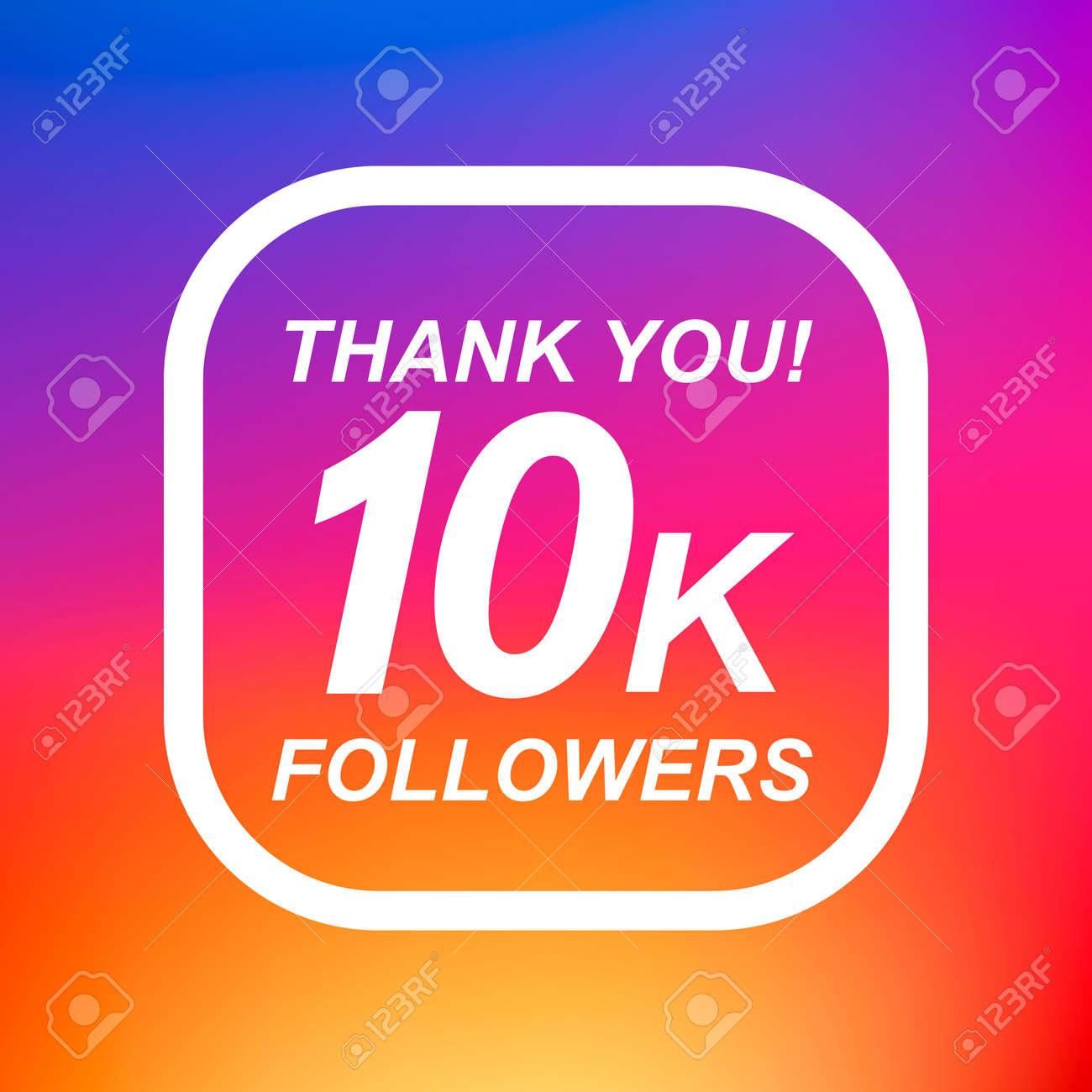 thank you 10k followers label design elements vector illustration