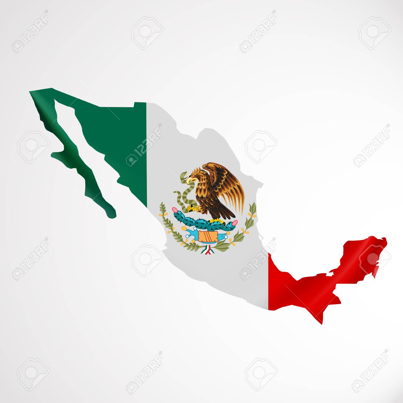 Hanging Mexico Flag In Form Of Map. United Mexican States. National ...