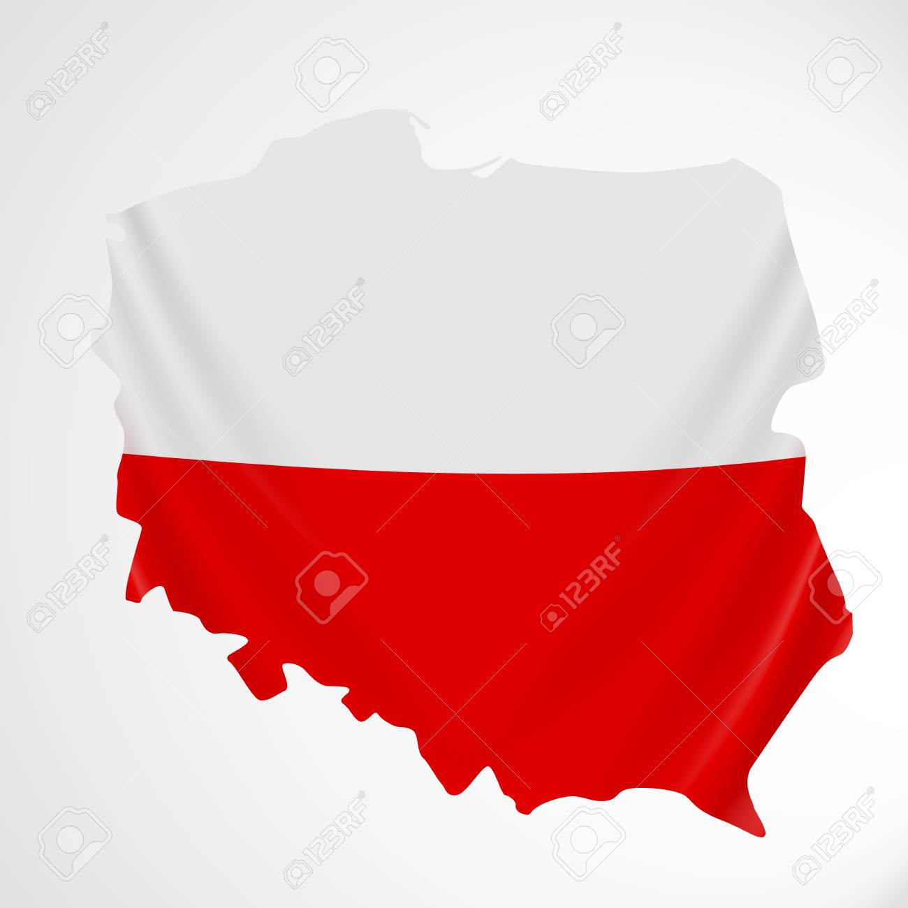 poland flag in form of map republic of poland polish national