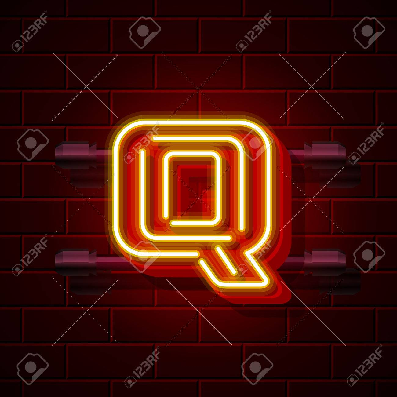 ネオン街フォント Q の文字の看板ベクトル図のイラスト素材ベクタ