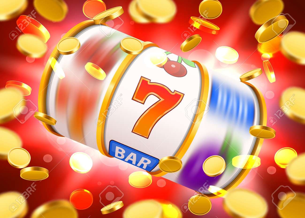 Golden slot machine with flying golden coins wins the jackpot. Big win concept. - 85713640