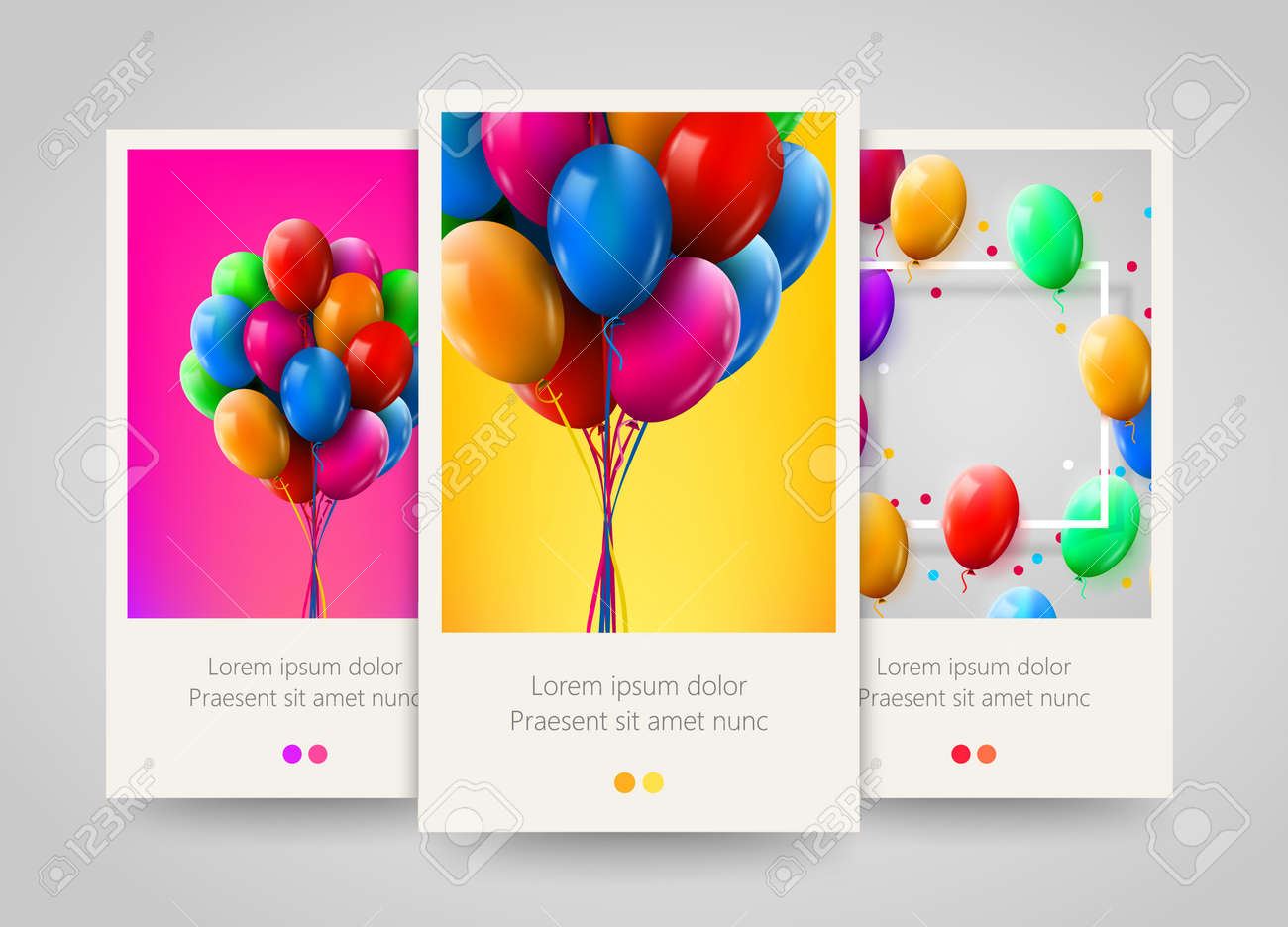 3d Realistic Colorful Bunch Of Birthday Balloons Flying For Party And Celebrations Poster Flyer