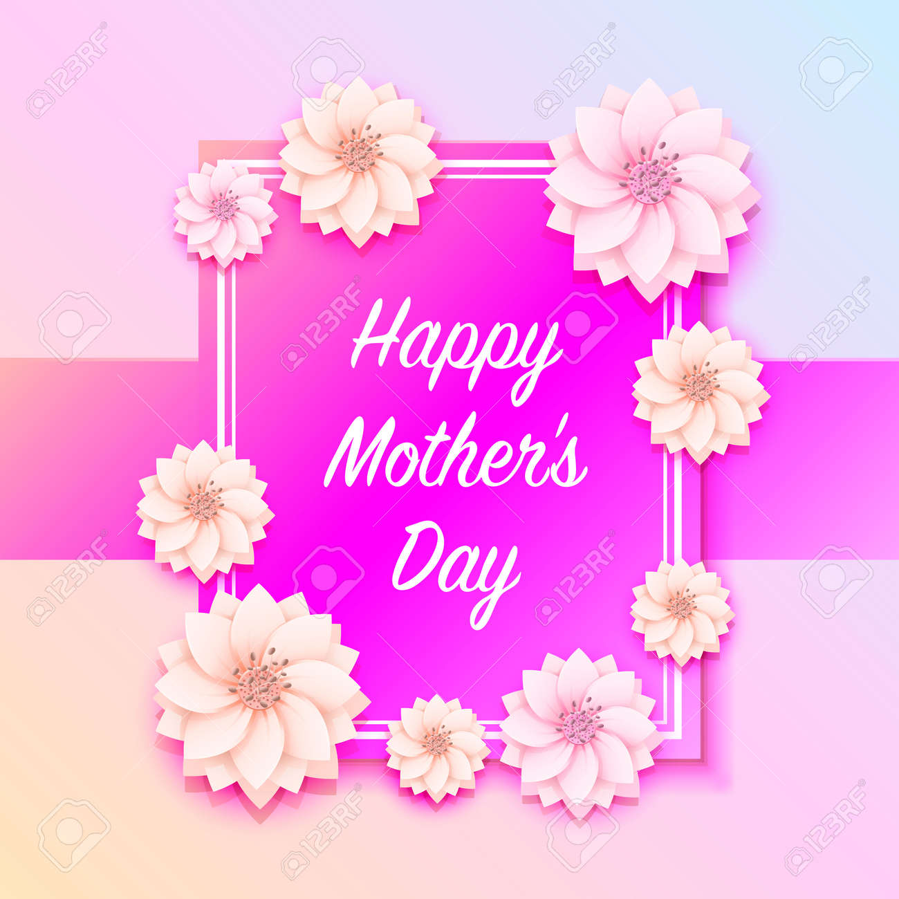 Happy Mother Day Frame Flower Signboard Royalty Free Cliparts