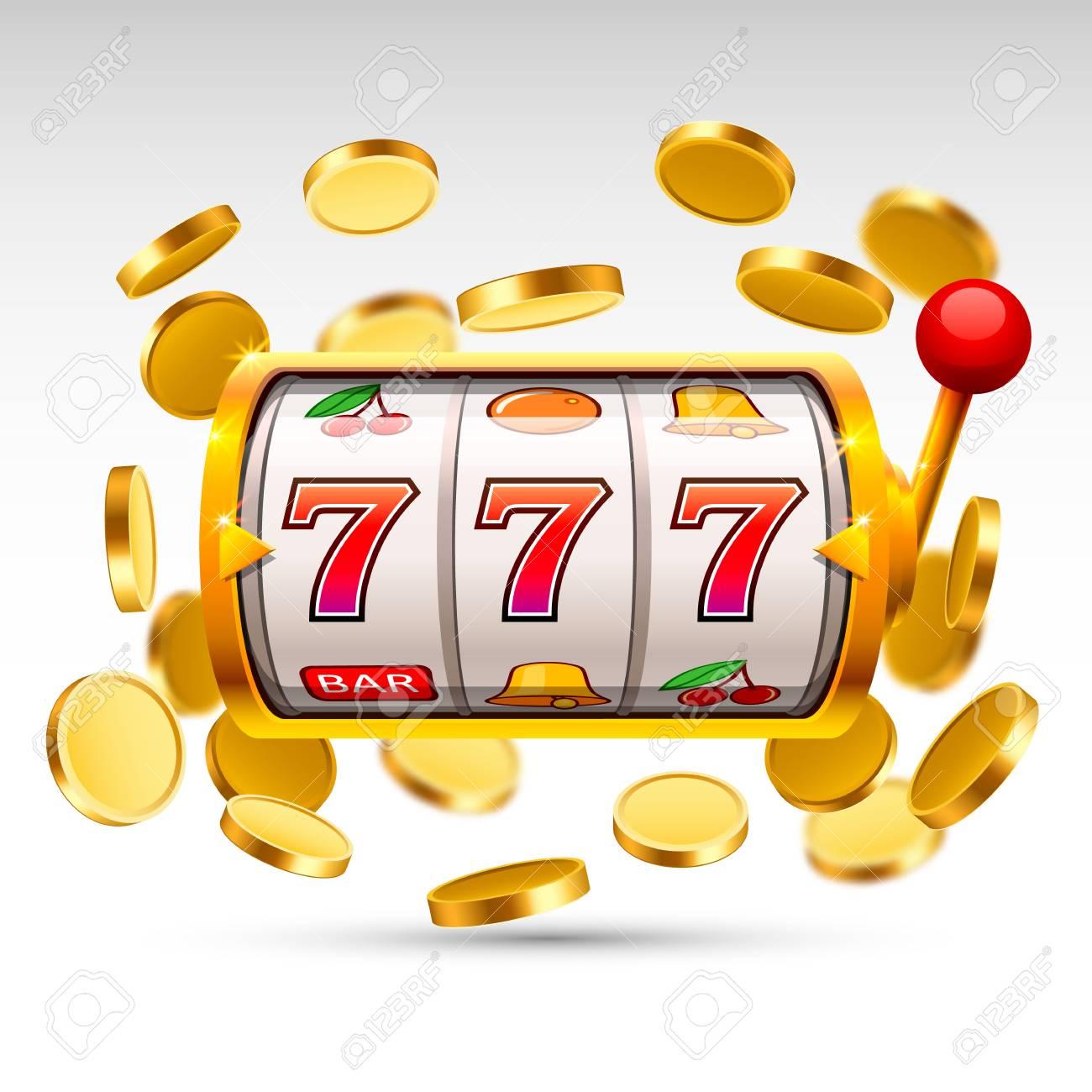 Golden slot machine wins the jackpot. - 85929821