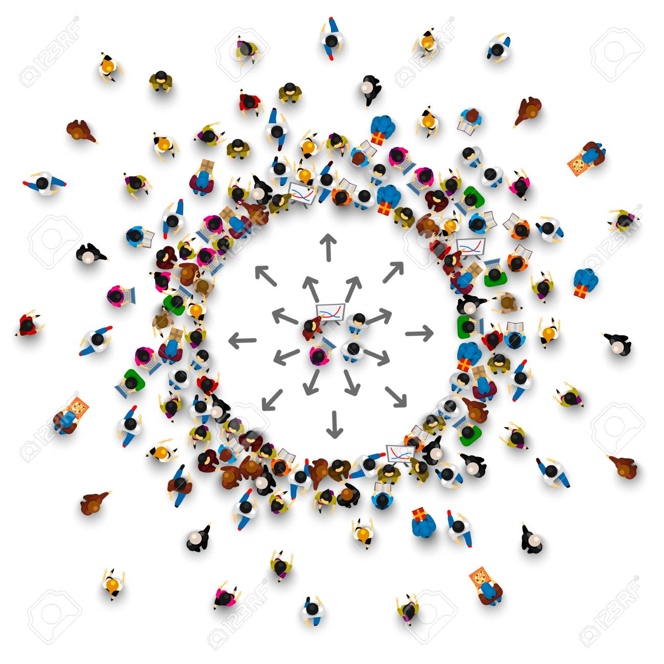 A lot of people stand in a circle on a white background. Vector illustration - 86312174