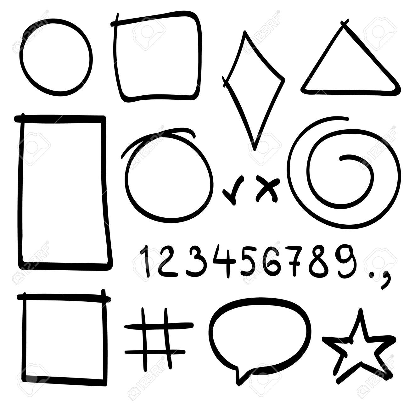 Sketch Symbols Sign And Geometric Shapes Sketch Figure Icons