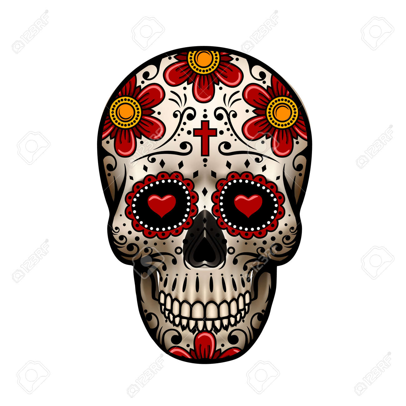 day of the dead skull skull with flower design skull tattoo rh 123rf com day of the dead vector graphics day of the dead girl vector