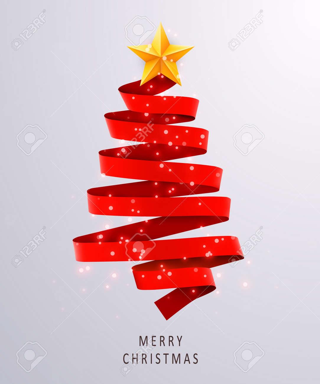 Sapin De Noël Fait De Ruban Rouge Sur Fond Clair Nouvel An Et Noël