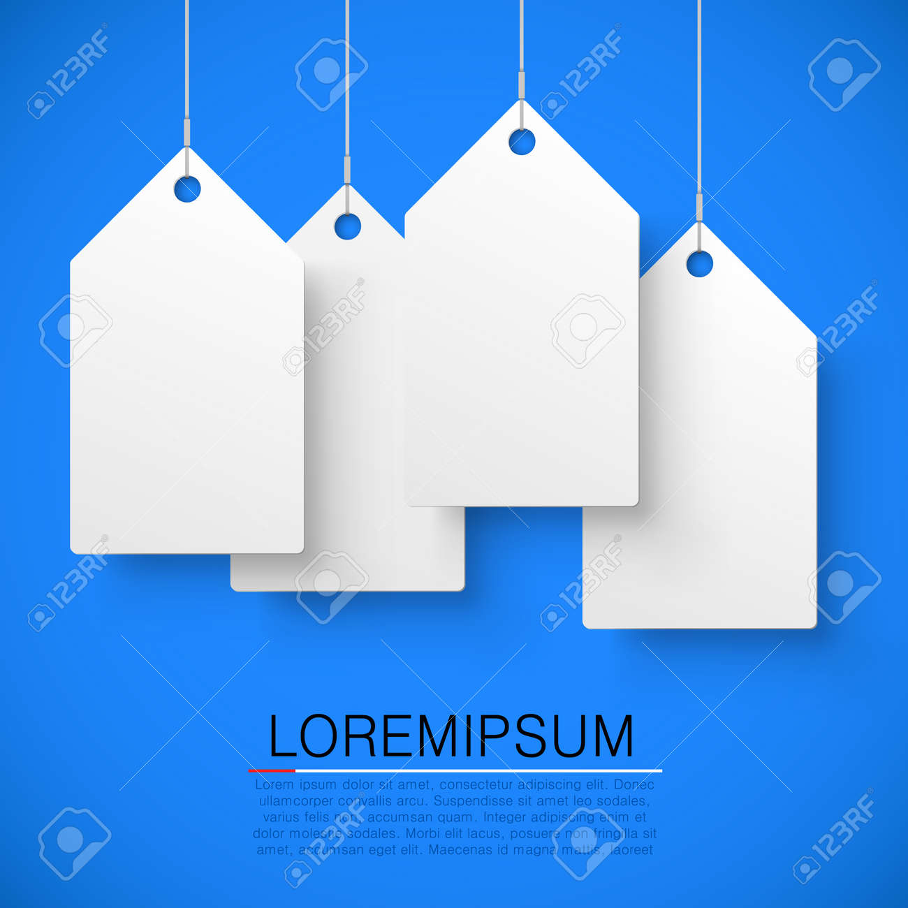 Four large white tags with the word sale. Vector illustration - 128488991