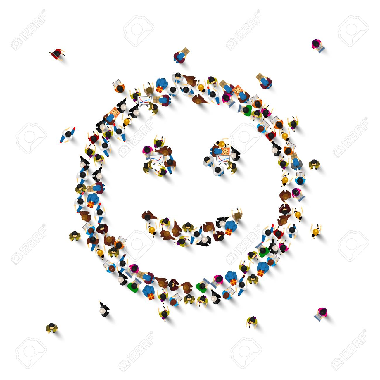 Many people sign emoji on the white background. Vector illustration - 128489051