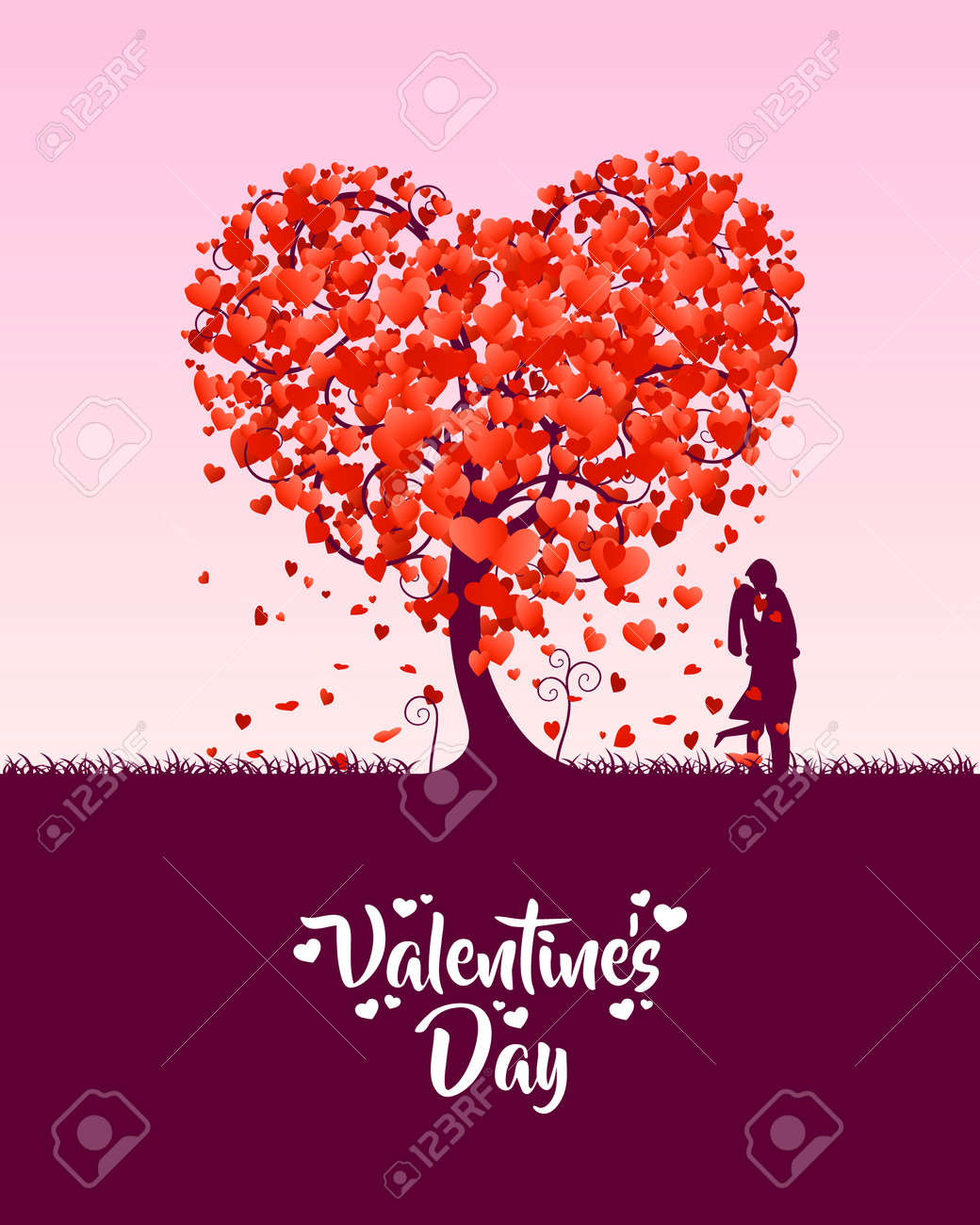 Happy Valentines Day Heart Tree Love Cover On A White Background Stock Photo Picture And Royalty Free Image Image 109487429