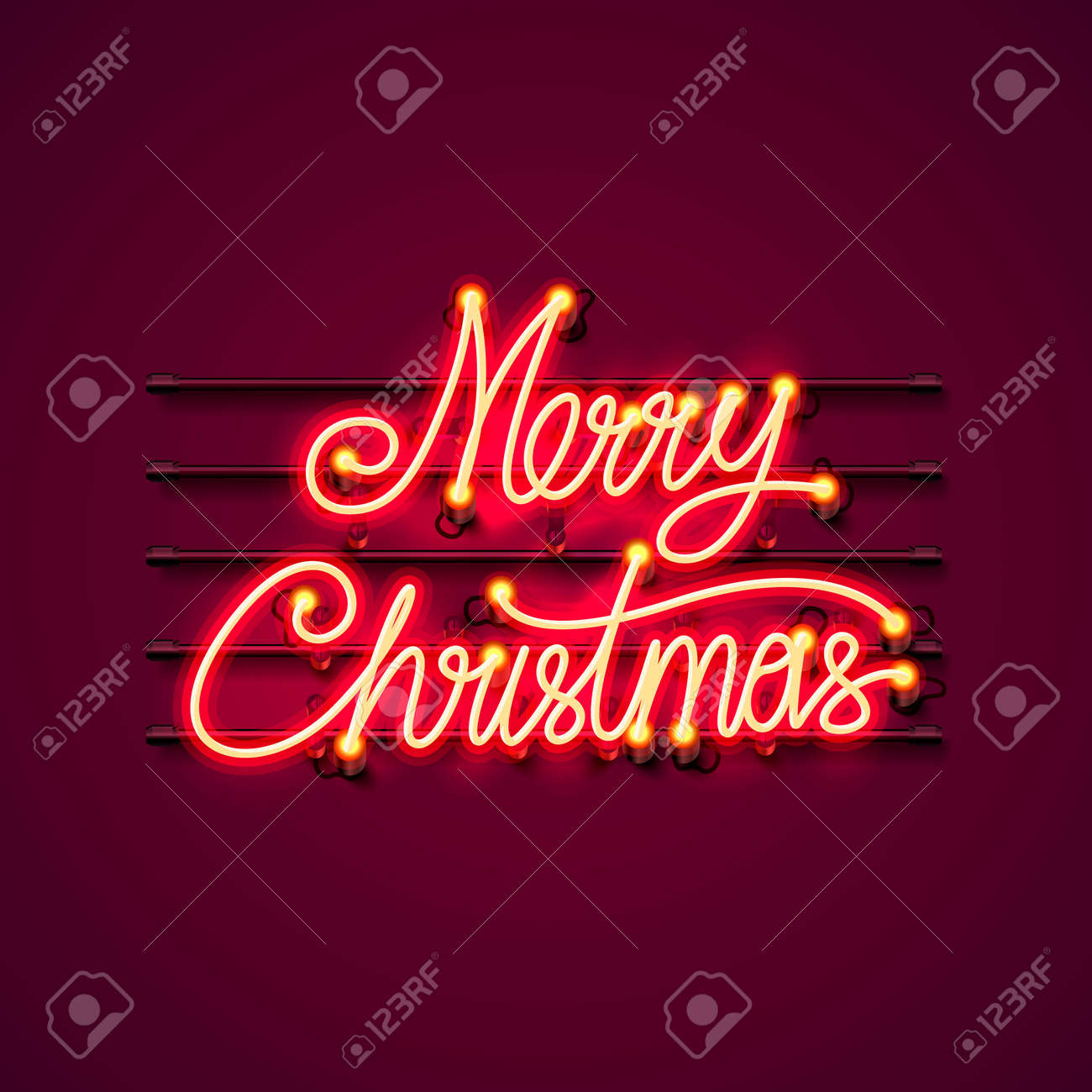 109545799 neon merry christmas signboard on the red background vector illustration