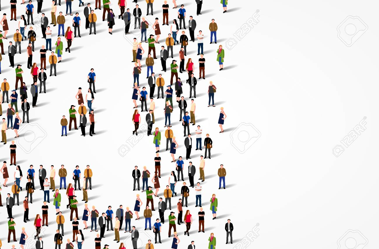 Large group of people in number 4 four form. Vector background - 128489301