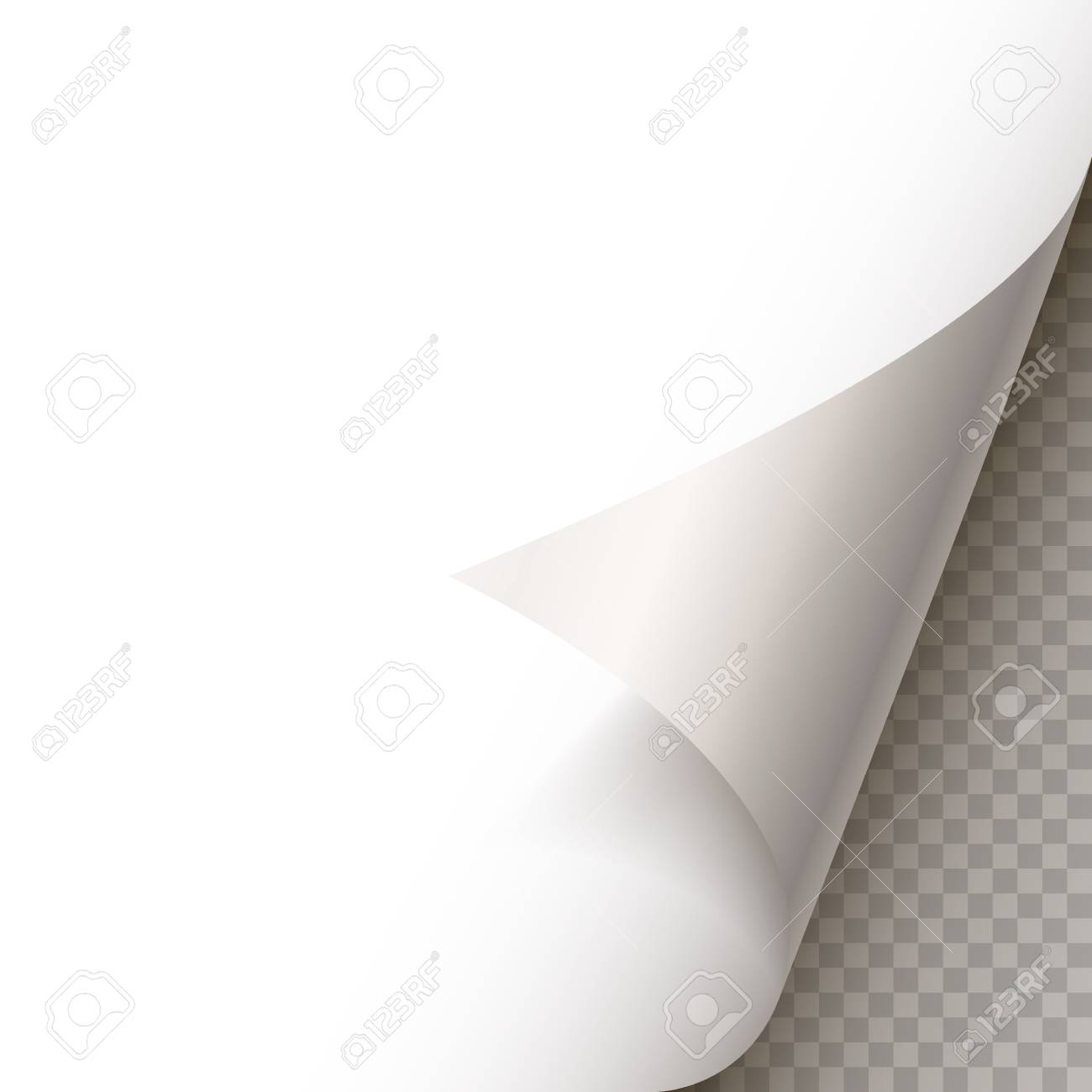 Page curl with shadow on blank sheet of paper. White paper sticker. Element for advertising and promotional message isolated on transparent background. template design element, Vector illustration - 128489369