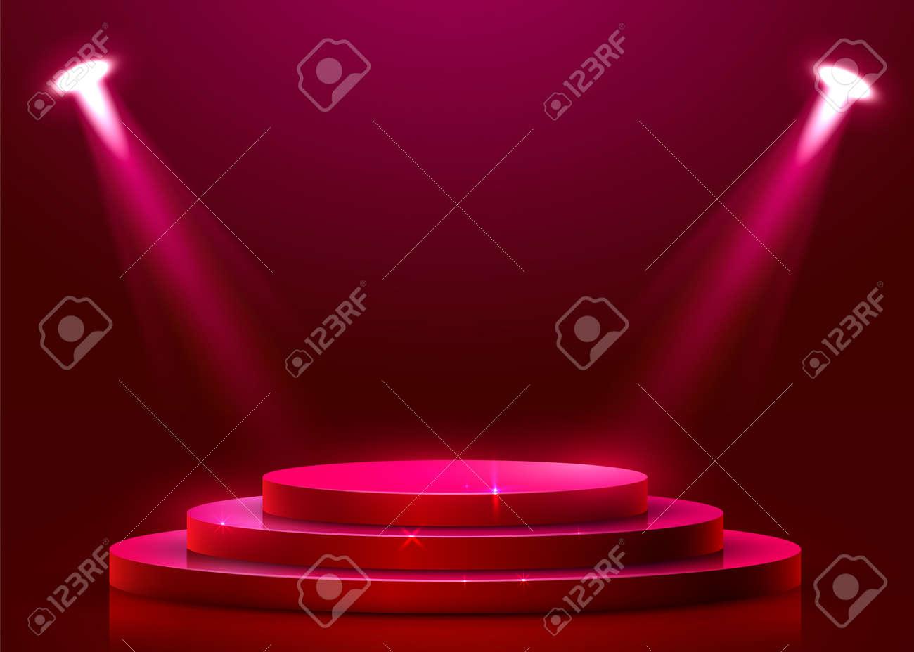 Abstract round podium illuminated with spotlight  Award ceremony