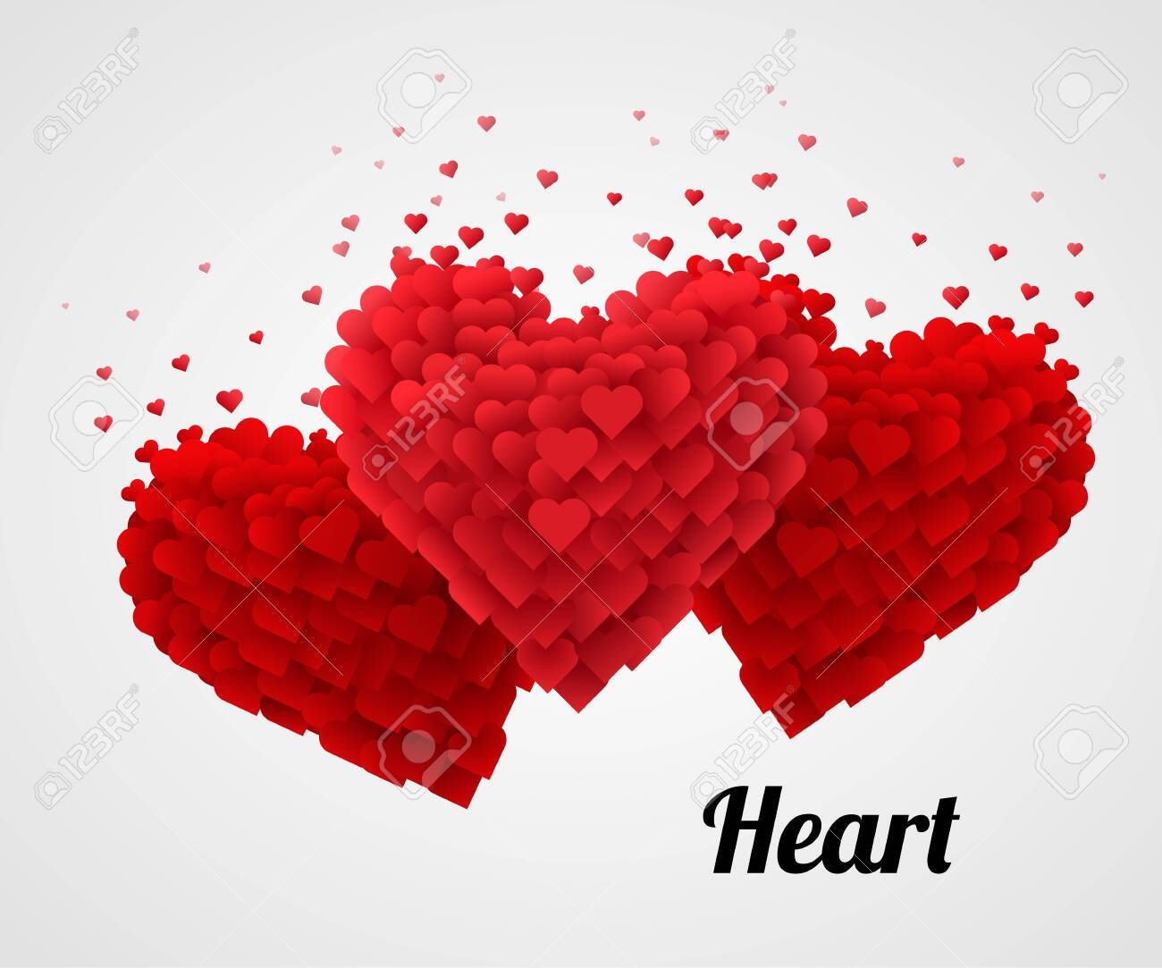 Red Valentine Heart, Isolated On bright Background. Love concept. Vector Illustration - 123219607