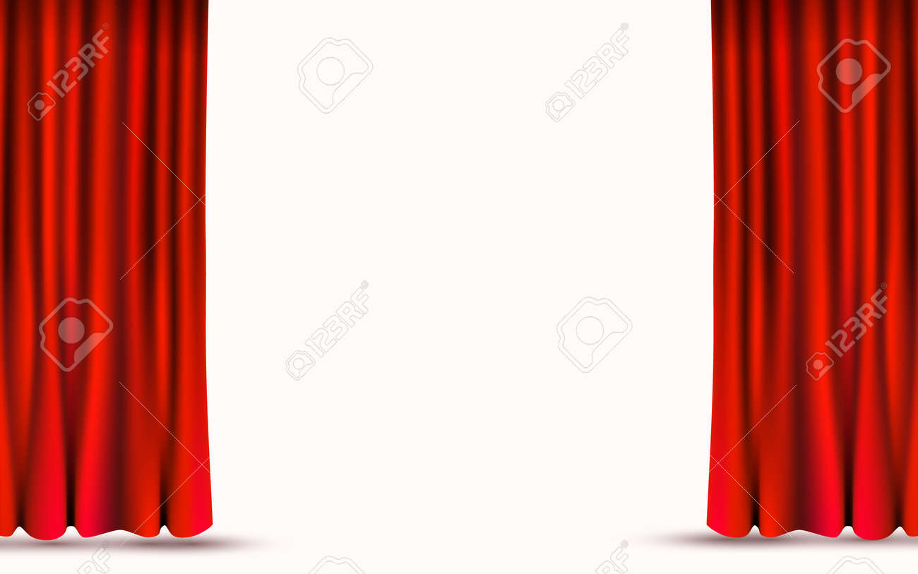 Red velvet curtains isolated on white background. Show stage concept. - 123219631