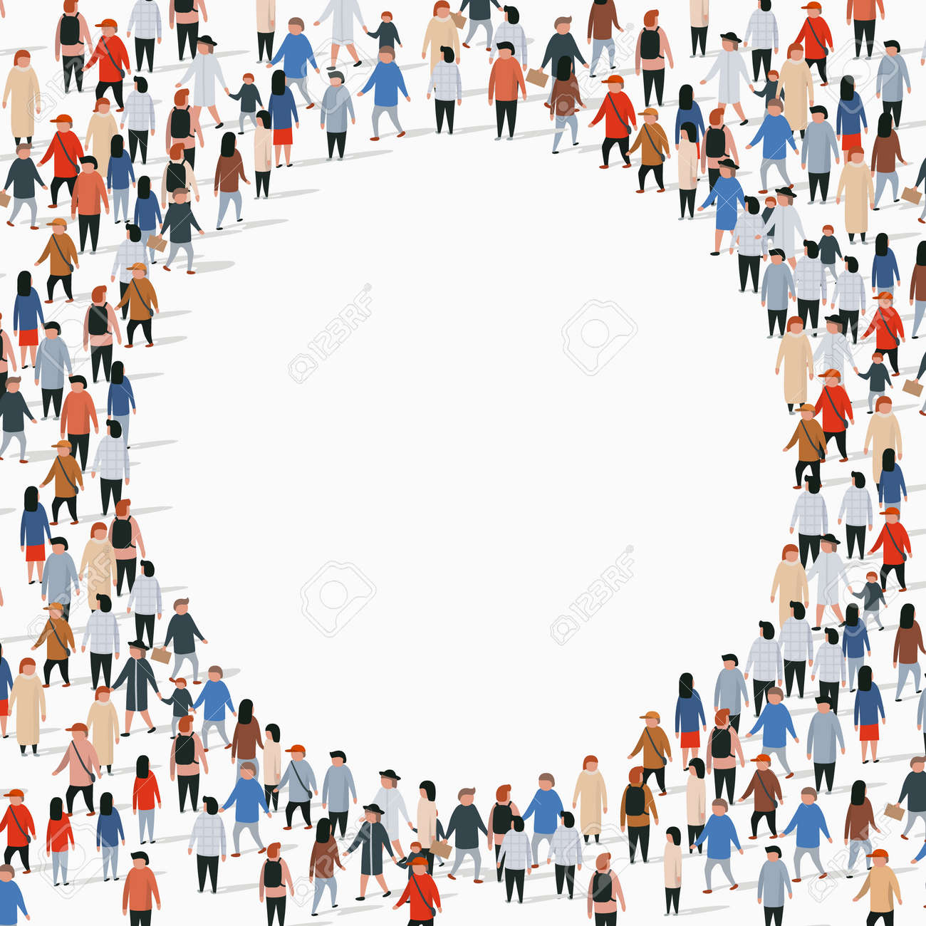 Large group of people in the shape of circle. Vector illustration - 128489966